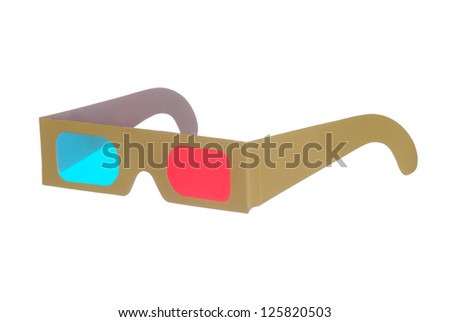 one pair of 3D glasses isolated on white background - stock photo