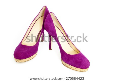 One Pair of Female High Heel Shoes, Purple Suede and Cork Soles, Isolated on White Background - stock photo