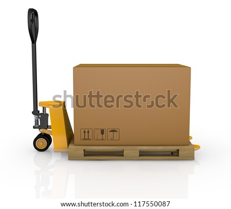 one pallet truck or forklift with a carton box (3d render) - stock photo