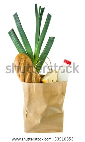 One paper bag with food isolated on - stock photo