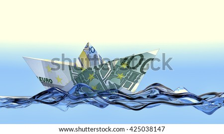 one paper boat made with euro banknotes on a stylized water, concept of business and finance (3d render) - stock photo