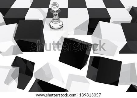 One pawn on collapsing chessboard - stock photo