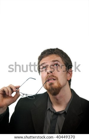 One pensive business man thinking for solutions - stock photo