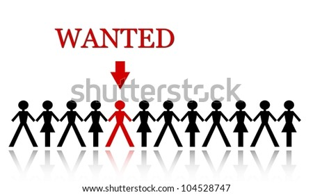 one person among many others hired to complete the team - stock photo