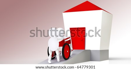 one person driving, another person sitting in wheelchair over a platform to a house - stock photo