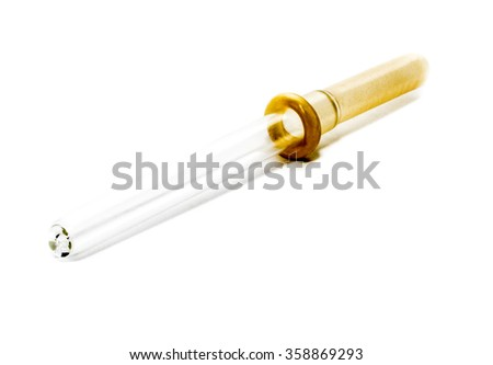 one pipette isolated on a white background - stock photo
