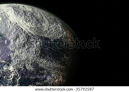 one planet in deep space8 - stock photo