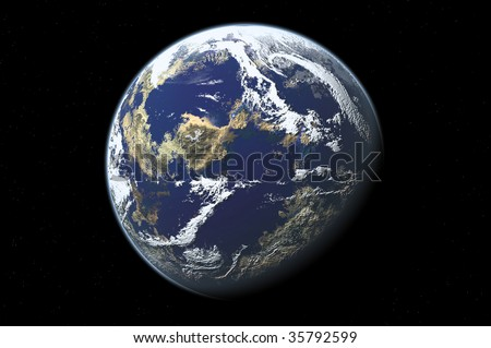 one planet in deep space12 - stock photo