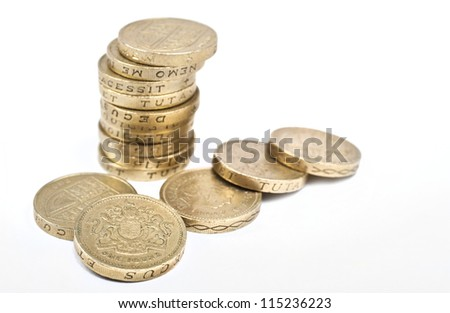 One Pound coins on a white background. - stock photo