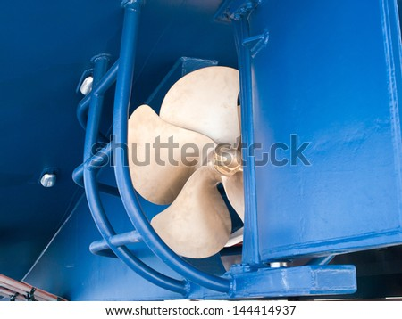 one propeller on a new ship in shipyard - stock photo