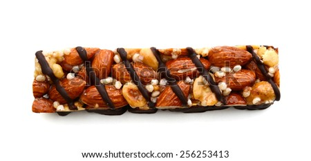 one protein bar with nut on white background  - stock photo
