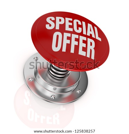 one push-button with the text: special offer (3d render) - stock photo