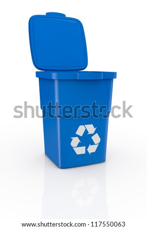 one recycling bin open, with recycling symbol (3d render) - stock photo