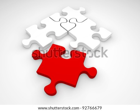 One red and three white jigsaw puzzle pieces on a white background. - stock photo