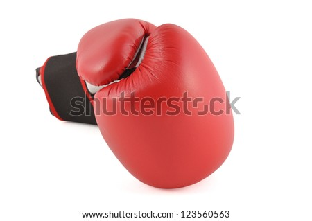 One red boxing glove in white background - stock photo