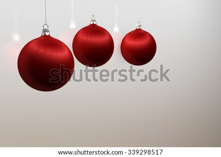 one red christmas ball over white background - stock photo