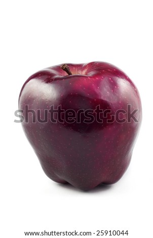 One red delicious apple isolated on white background with copy space - stock photo