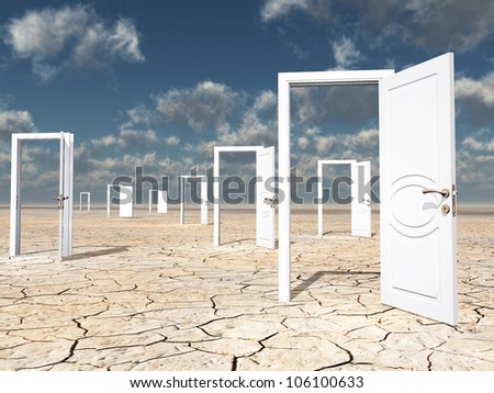 One red door among several - stock photo