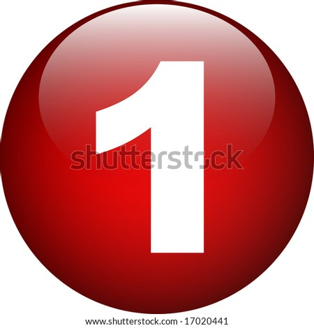 one (1) red number button - stock photo