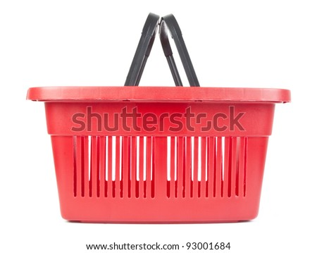 One red shopping basket on white background - stock photo