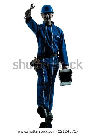 one  repairman worker saluting silhouette in studio on white background - stock photo
