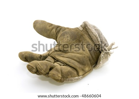 one right hand working glove isolated on white background - stock photo