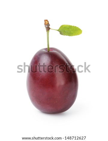 one ripe plum with leaf, isolated on white - stock photo