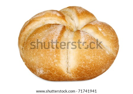 One roll bread isolated on white background - stock photo