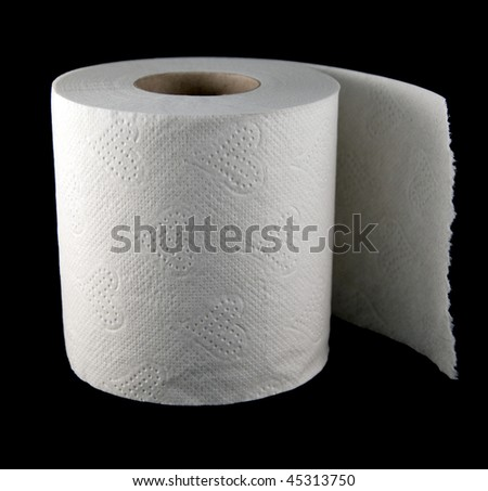 one roll of soft toilet paper isolated on black - stock photo