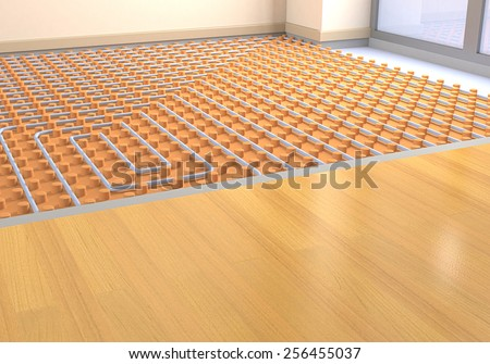 one room with a floor heating system (3d render) - stock photo