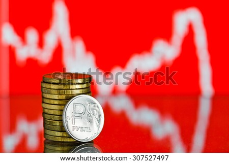 One rouble coin and gold money. Fluctuating graph on red background. Rate of the Russian rouble (shallow DOF)  - stock photo