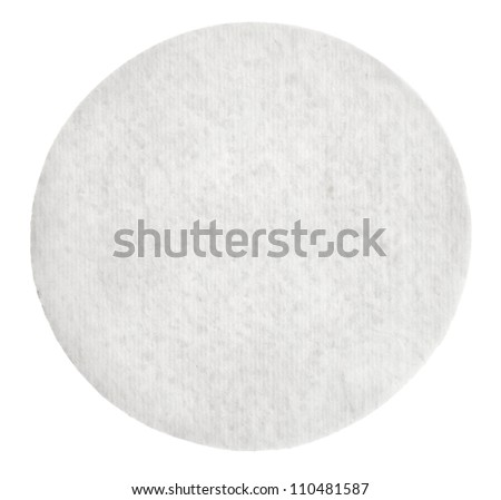 One round cotton cosmetic pad, isolated on white - stock photo