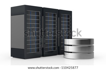 one row of three server racks with a database symbol (3d render) - stock photo