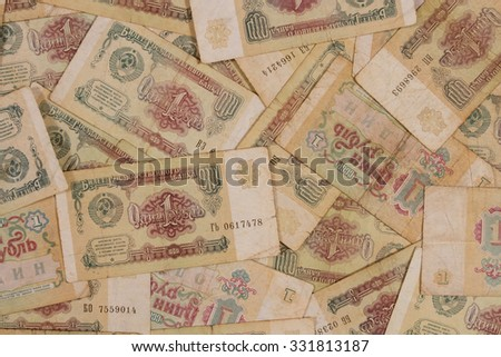 One ruble banknotes. Lots of notes of the early nineties.  - stock photo