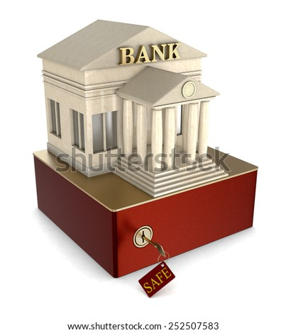 one safe box with a bank building on white background (3d render) - stock photo