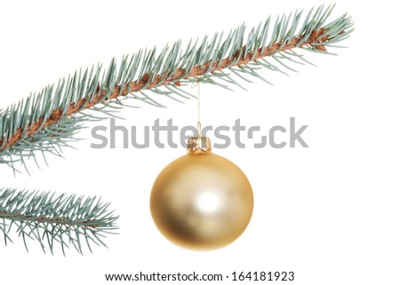 One separate Christmas ball on christmas tree. isolated on white.  - stock photo