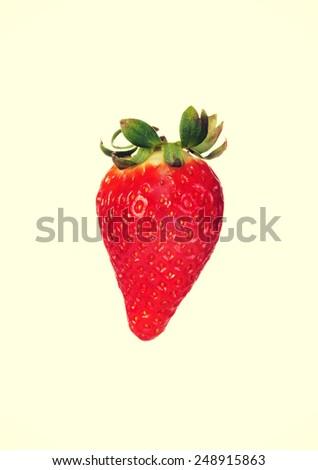One separated fresh tasty strawberry.  - stock photo