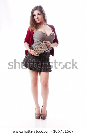 One sexy school girl with a book - stock photo