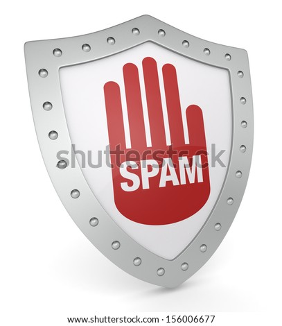 one shield with the word: spam (3d render) - stock photo