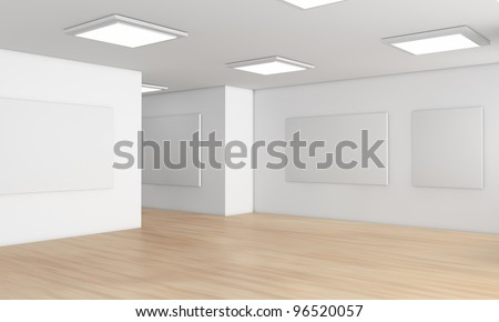 one showroom with a wooden floor and blank panels on the walls (3d render) - stock photo