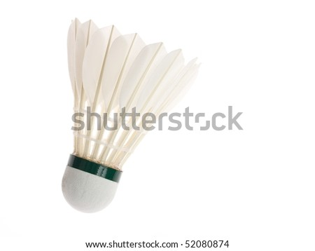One shuttlecock isolated on the white background - stock photo