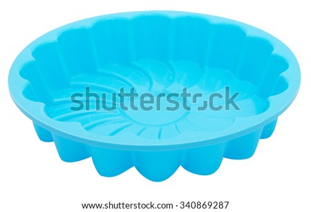 One silicone mold for cake isolated on white background - stock photo