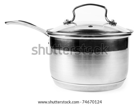One silver casserole isolated on white - stock photo