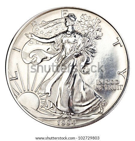 One silver dollar close up - stock photo