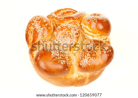 One simple round sabbath challah with seed isolated on white background - stock photo