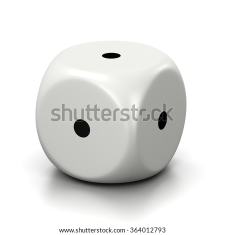 One Single All One Numbered Faces White Dice on White Background 3D Illustration - stock photo