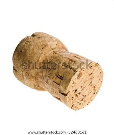 one single Cork-stopper of champagne isolated  on a over white background - stock photo