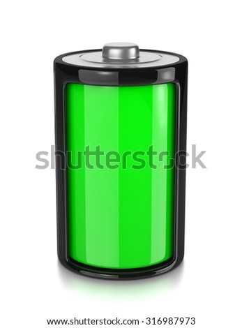 One Single Full Charge Electric Battery Isolated on White Background 3D Illustration - stock photo