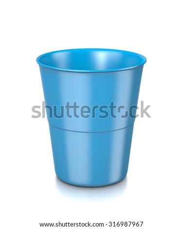 One Single Plastic Blue Bin Isolated on White Background 3D Illustration - stock photo
