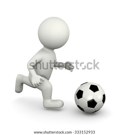 One Single Soccer Player White Character Running with Ball 3D Illustration on White Background - stock photo